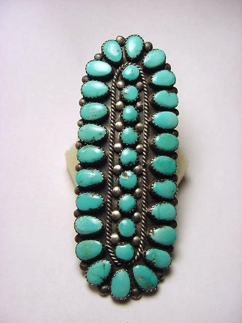 4: HOPI SILVER TURQUOISE RING MEASURES 1.25 X 3.25 INCH