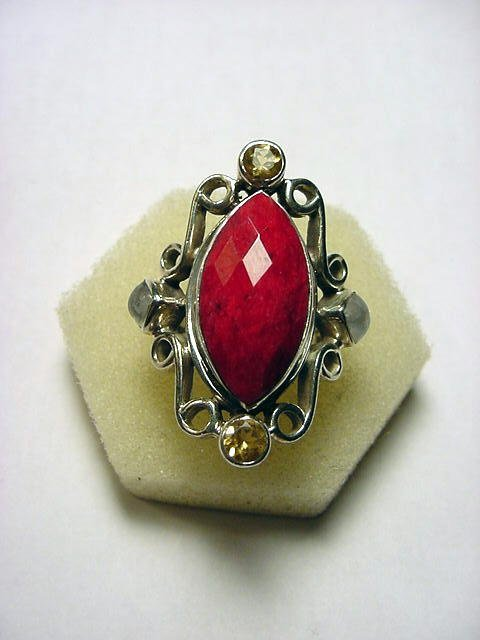 8: GENUINE RUBY STERLING RING SIZE 9