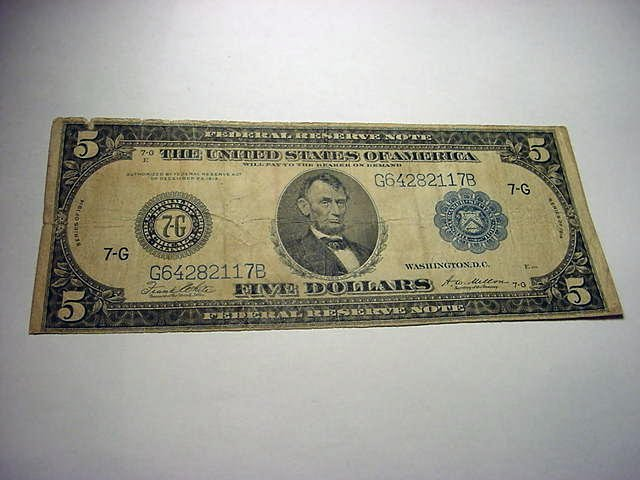 11: 1914 $5 FEDERAL RESERVE NOTE