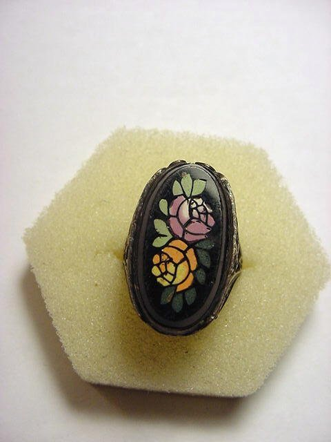 20: ANTIQUE STERLING PIETRA DURA RING SIZE 4