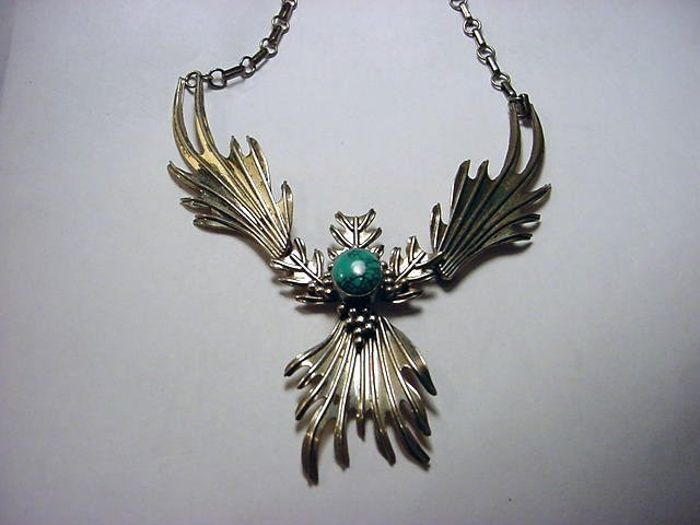 117: SIGNED NAVAJO STERLING TURQUOISE NECKLACE