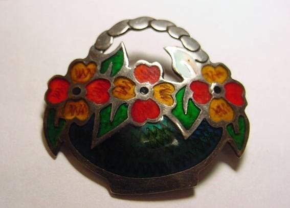 5: SIGNED MEXICAN STERLING ENAMEL PIN