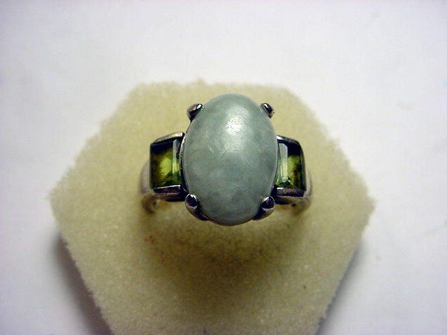 7: JADE STERLING RING SIZE 7