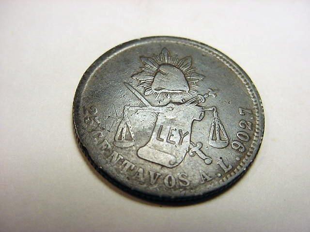 8: 1875 A.L. MEXICO 25 CENTAVOS SILVER COIN