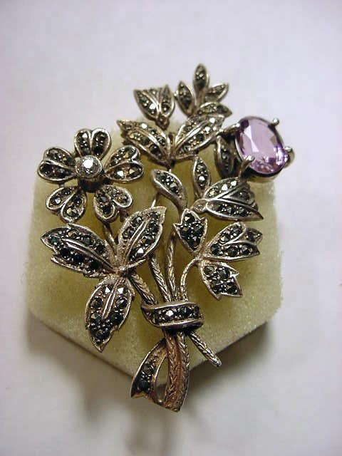 2: STERLING AMETHYST MARCASITE FLORAL PIN