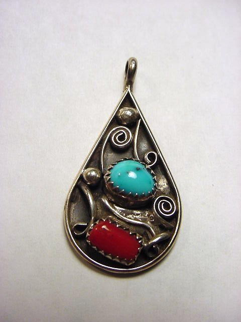 7: SIGNED NAVAJO STERLING TURQUOISE CORAL PENDANT