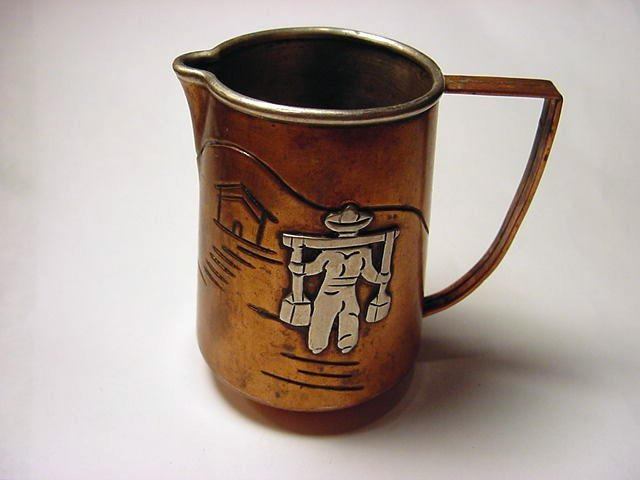 21: VINTAGE SIGNED MEXICAN COPPER & STERLING PITCHER