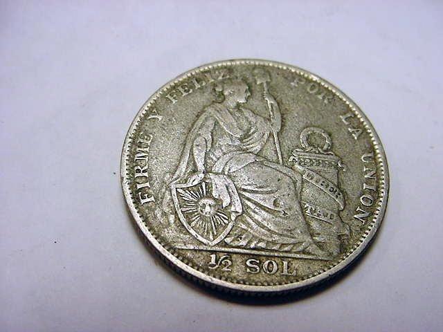 2: 1928 PERU 1/2 SOL SILVER COIN
