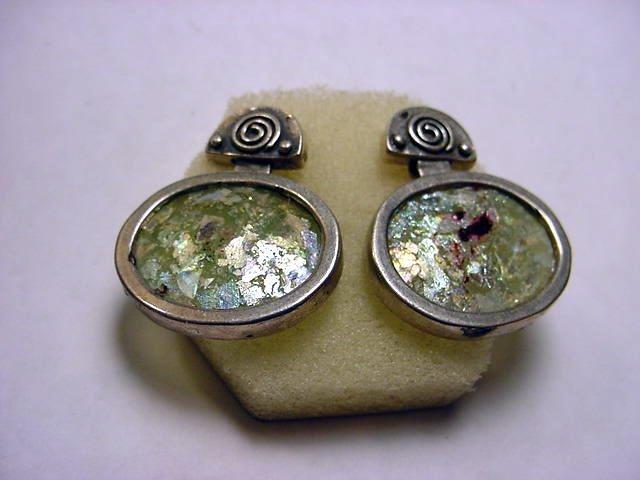 16: STERLING ROMAN GLASS EARRINGS