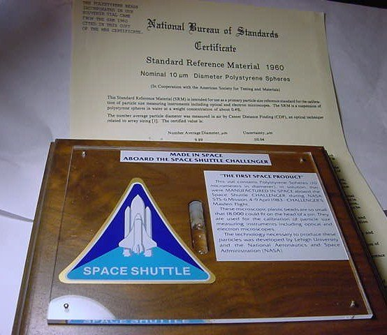 292: SPACE SHUTTLE OIL IN WOOD PLAQUE