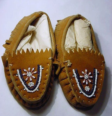 12: PAIR INDIAN BEADED MOCCASINS