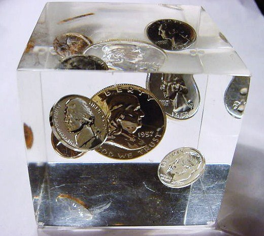 21: 1957 PROOF SET IN LUCITE CUBE