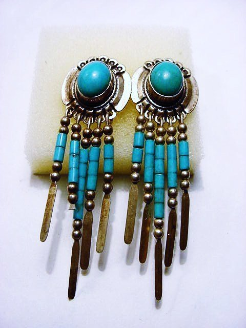 45: SIGNED NAVAJO STERLING TURQUOISE DANGLE EARRINGS