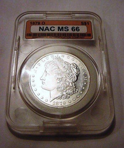9: 1879-O MORGAN DOLLAR NAC CERTIFIED MS66
