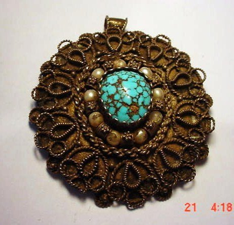 6: ANTIQUE ISRAEL 935 SILVER TURQUOISE PIN