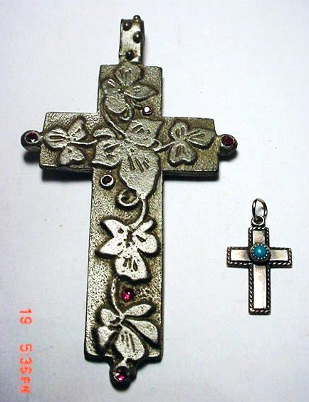 20: NAVAJO STERLING TURQUOISE CROSS AND  [1] CROSS