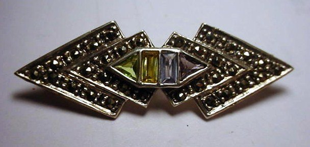 21: VINTAGE MARCASITE MULTISTONE STERLING PIN