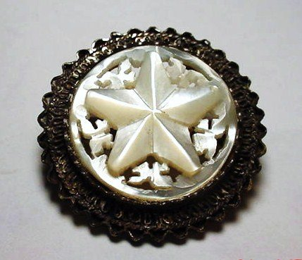22: VINTAGE SILVER CARVED MOTHER OF PEARL  PIN