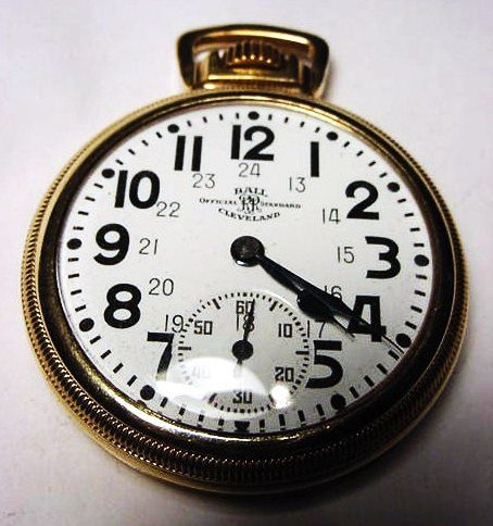 1: BALL 21 JEWEL GOLD FILLED POCKET WATCH WORKS