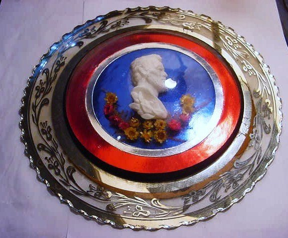 1: VINTAGE LINCOLN BISQUE &  GLASS MEMORIAL PLAQUE