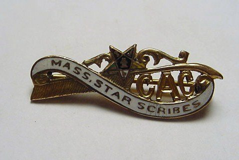 11: MASSACHUSETTS STAR SCRIBES GOLD FILLED ENAMEL PIN