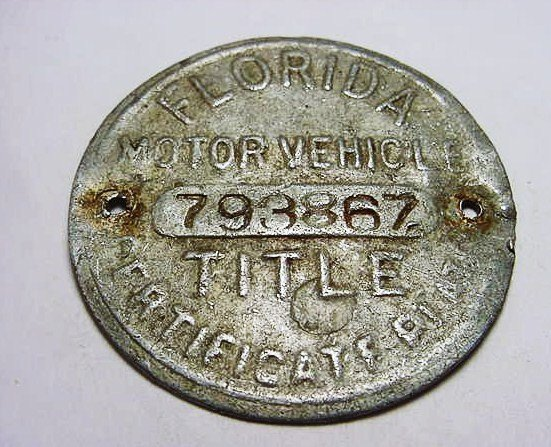18: FLORIDA MOTOR VEHICLE MEDAL