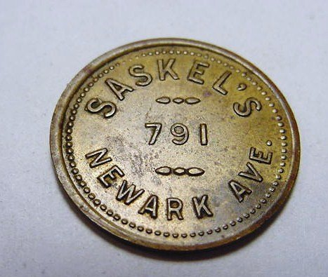 22: SASKELL'S NEWARK AVE. TOKEN
