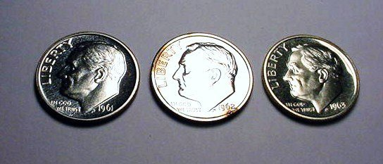 19: 1961,1962,1963 PROOF ROOSEVELT DIMES