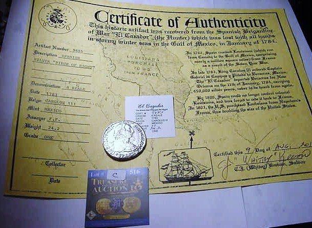 1: 1783 MEXICO 8 REALES EL CAZADOR SHIPWRECK COIN WITH