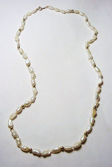 4: 14K GOLD FRESH WATER PEARL NECKLACE
