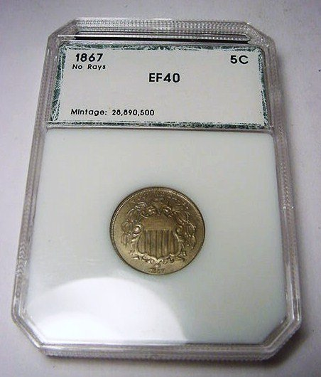 7: 1867 SHIELD NICKEL PCI CERTIFIED EXTRA FINE