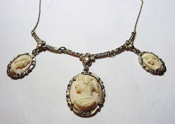 22: VINTAGE SILVER CARVED CAMEO NECKLACE