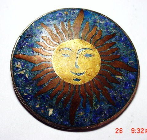3: SIGNED MEXICAN STERLING INLAID STONE PIN