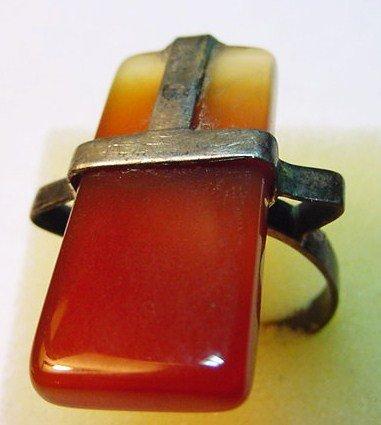 8: MODERNIST STERLING CARNELIAN RING SIZE 10