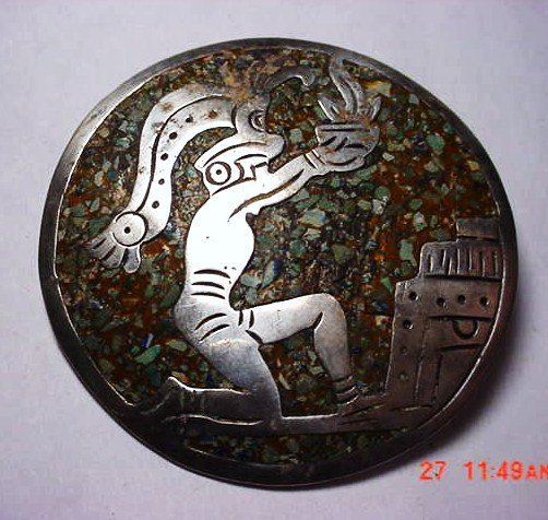 10: SIGNED MEXICAN STERLING INLAID STONE PIN