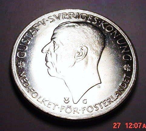 15: 1935 SWEDEN 5 KRONOR GEM B.U.
