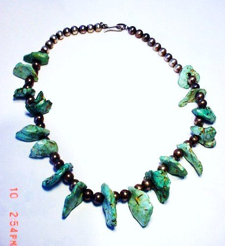 """12: NAVAJO SILVER TURQUOISE NECKLACE 16"""""""