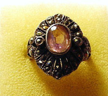 3: VINTAGE STERLING AMETHYST MARCASITE RING SIZE 8