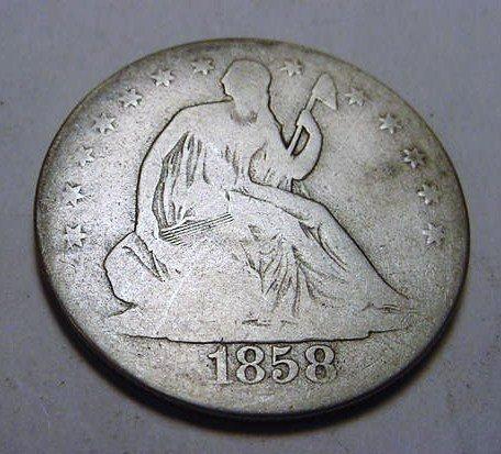 8: 1858-O SEATED LIBERTY HALF DOLLAR