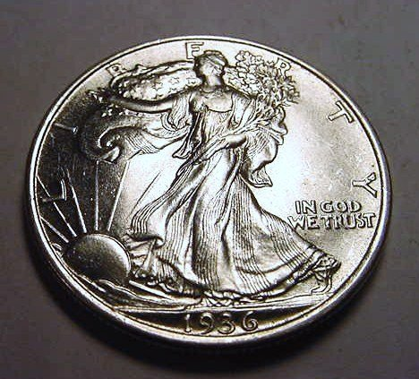 10: 1936 WALKING LIBERTY HALF DOLLAR B.U.