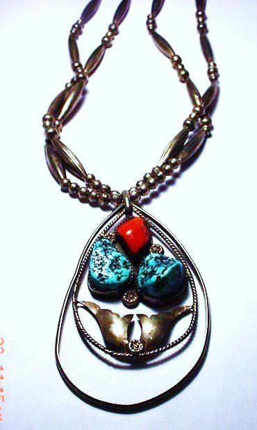 1: NAVAJO SILVER TURQUOISE CORAL NECKLACE