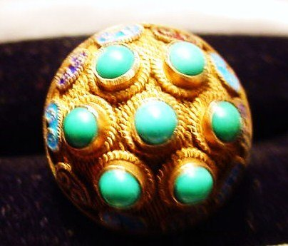 7: GILT SILVER TURQUOISE RING SIZE  6 ADJUSTABLE