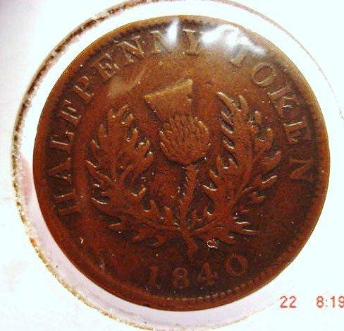10: 1840 NOVA SCOTIA 1/2 PENNY TOKEN