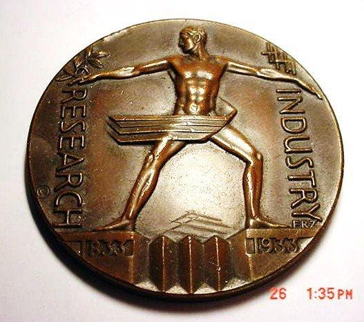 282: 1933 CHICAGO WORLD'S FAIR BRONZE MEDAL