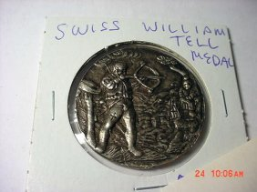 EARLY SWISS SILVER WILLIAM TELL MEDAL