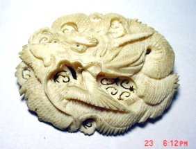 18: VINTAGE SIGNED CHINESE CARVED IVORY DRAGON PIN