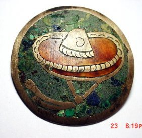 19: VINTAGE SIGNED MEXICAN INLAID STONE PIN