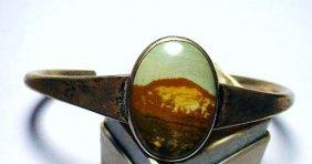 VINTAGE STERLING PICTURE AGATE BRACELET