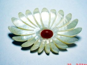 VINTAGE CARVED MOTHER OF PEARL CORAL PIN