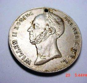 12: 1849 NETHERLANDS 2 1/2 G. [SMALL HOLE]